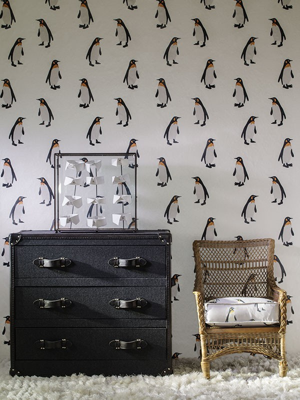 Emperor-Frost-seat-cushion-in-Tux-Mist-fabric-with-Howard-Mackenzie-Plain-Chest-of-Drawer-wallpaper-wp425190-1
