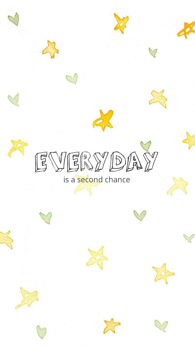 Everyday-is-a-Second-ChanceTap-to-see-more-beautiful-HD-iPhone-Watercolor-stars-pattern-wallpaper-wp4605714