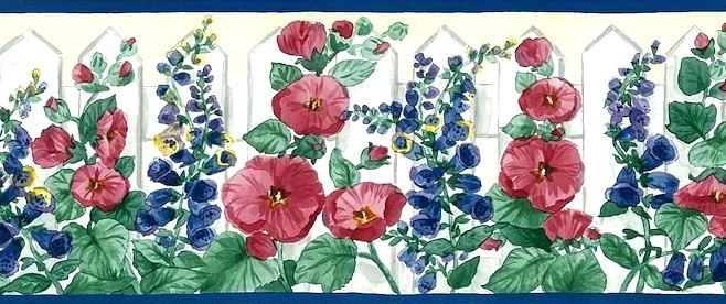 Floral-border-with-Blue-delphinium-Red-hollyhocks-and-a-touch-of-Yellow-Green-leaves-are-wallpaper-wp4407047