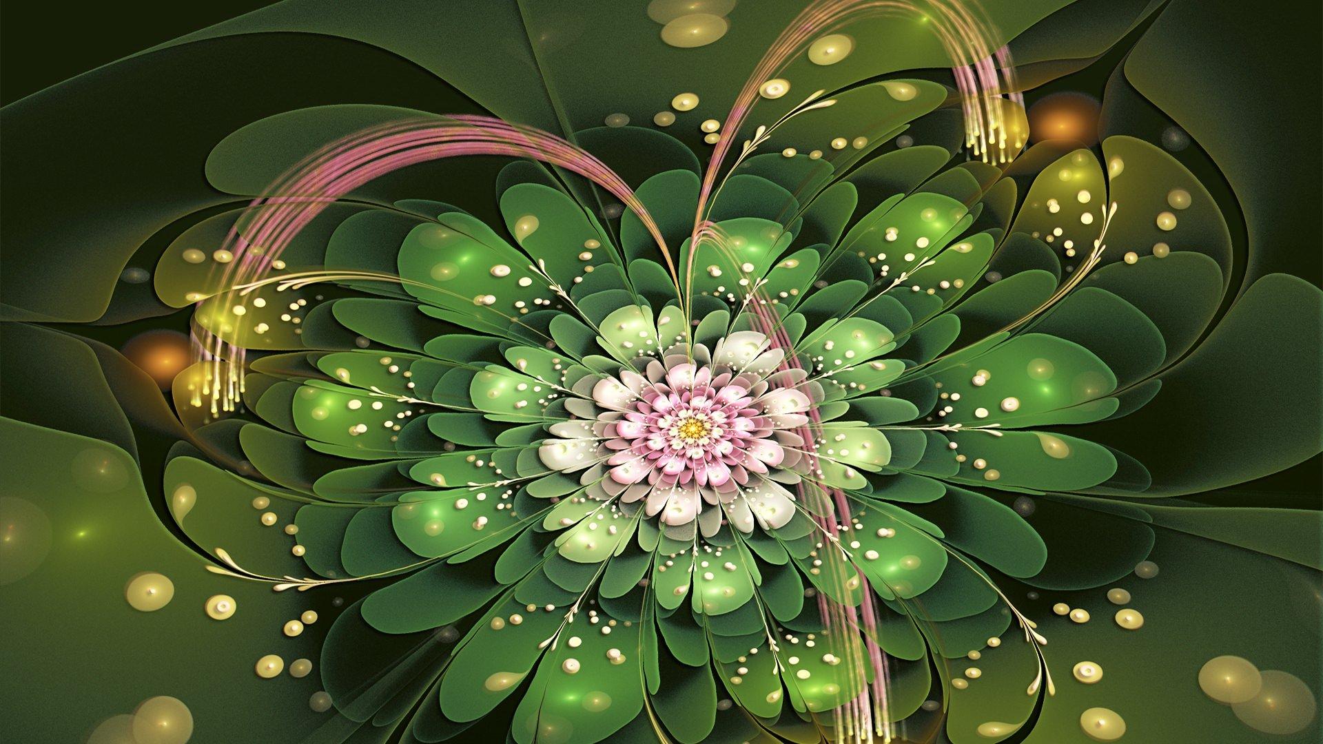 Fractal-Flower-Petals-Green-and-Pink-1920%C3%971080-wallpaper-wp3605769