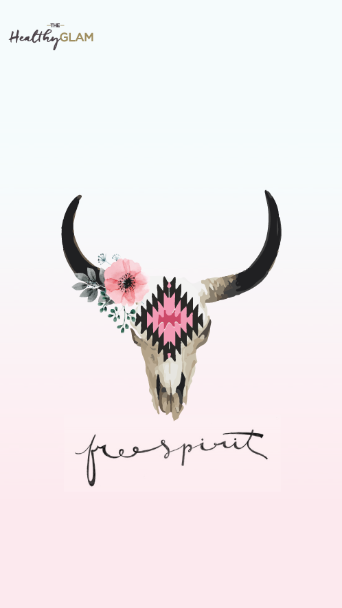 Free-spirit-iphone-Cow-skull-with-flowers-wallpaper-wp4606039