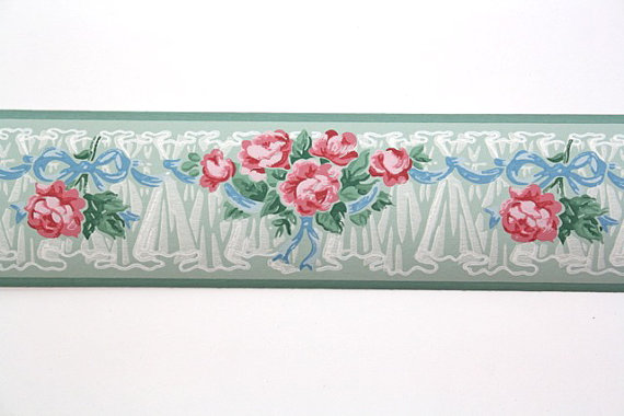 Full-Vintage-Border-TRIMZ-Pink-Roses-Floral-Border-Pink-and-Green-wi-wallpaper-wp5805889