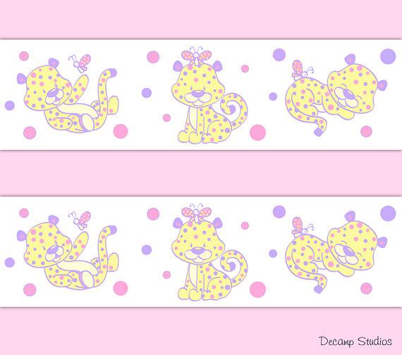 GIRL-NURSERY-Border-Decals-Pink-Safari-Animals-Wall-wallpaper-wp5207001