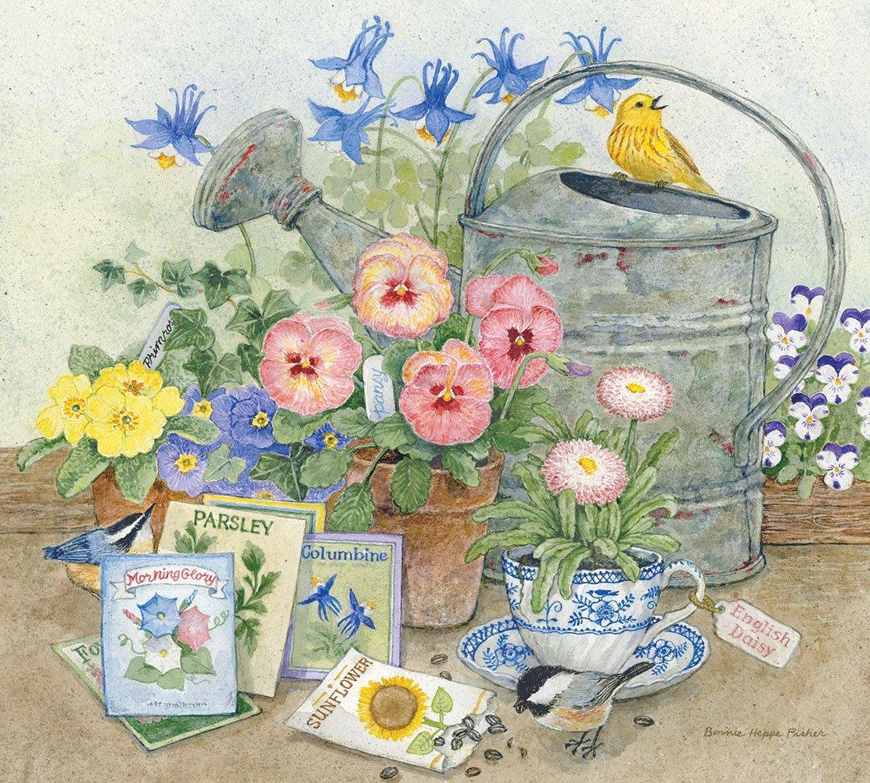 Gardener-s-Corner-by-Bonnie-Heppe-Fisher-birds-flowers-seeds-watering-can-wallpaper-wp425679