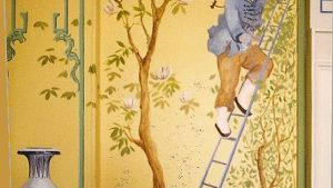 Yellow Chinoiserie behang