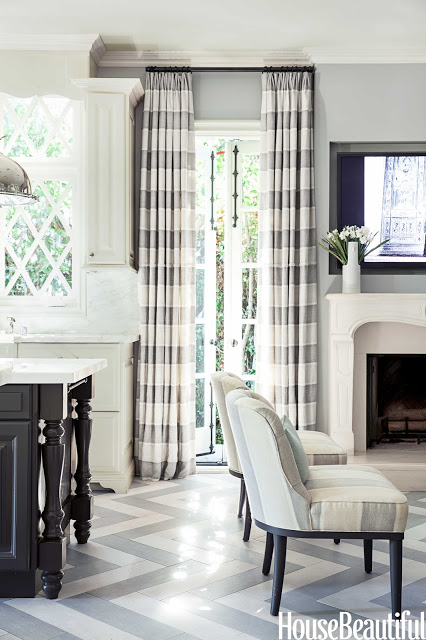 Grey-and-white-kitchen-by-Mary-McDonald-with-striped-drapery-and-chevron-pattern-floor-wallpaper-wp5405426