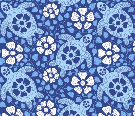 Hawaiian-Turtles-and-Hibiscus-Blues-fabric-by-coloroncloth-on-Spoonflower-custom-fabric-wallpaper-wp3006520
