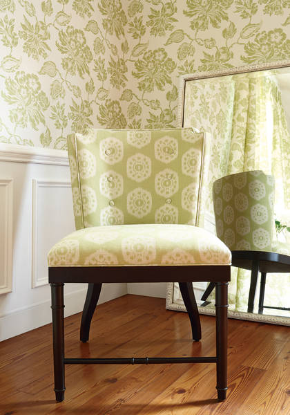 Helena-lime-green-and-Stirling-Chair-from-ThibautFineFurniture-in-Circle-Ikat-fabric-wallpaper-wp5405613