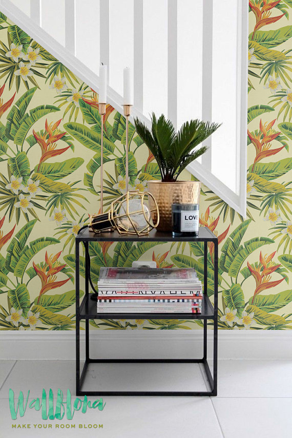 Heliconia-Flower-and-Plumeria-Plumeria-Removable-Palm-Wall-Sticker-Palm-Fi-wallpaper-wp426033-1