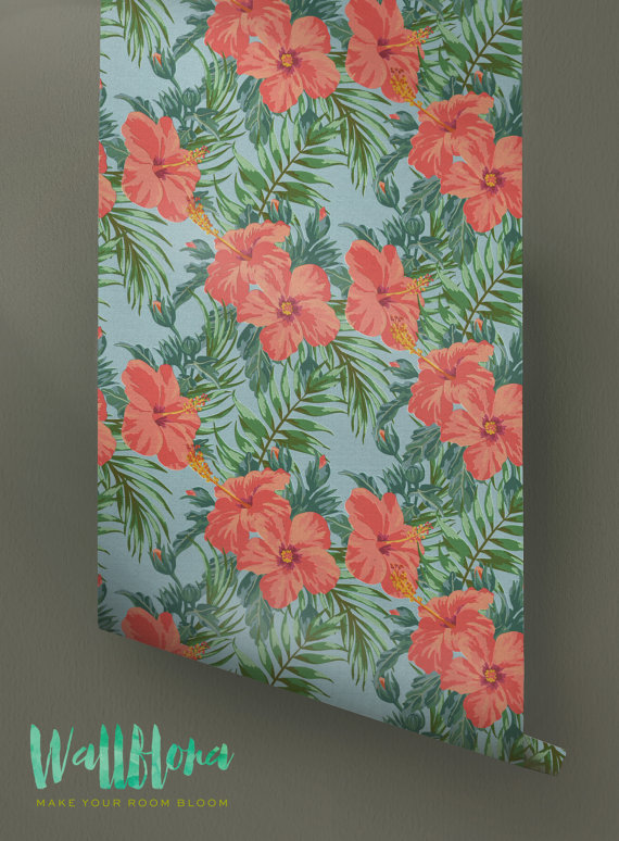 Hibiscus-Pattern-Removable-Tropical-Hibiscus-Wall-Sticker-Trop-wallpaper-wp426129-1