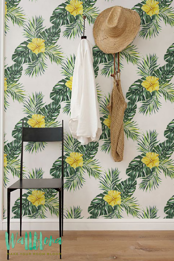 Hibiscus-and-Monstera-Leaves-Removable-Self-Adhesive-Temporary-W-wallpaper-wp426120-1