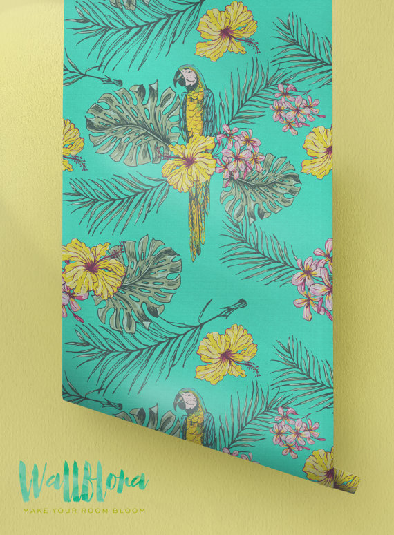 Hibiscus-and-Parrot-Pattern-Removable-Tropical-Wall-Sticker-Exo-wallpaper-wp42307-1