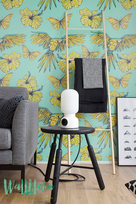 Hibiscus-and-Parrot-Pattern-Removable-by-WallfloraShop-wallpaper-wp426122