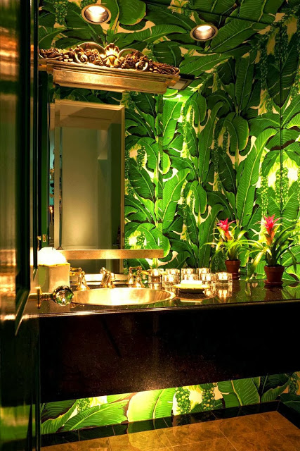 High-drama-is-perfect-in-a-powder-room-Note-under-cabinet-lighting-Brazilliance-The-Glam-Pad-wallpaper-wp4807240