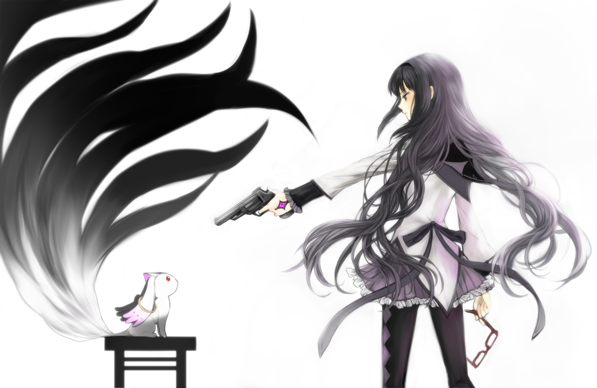 Homura-getting-ready-to-shoot-Kyuubey-wallpaper-wp5008650
