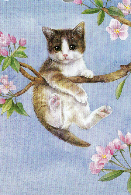 I-found-this-lovely-illustration-of-this-kitty-up-a-tree-on-an-old-calander-This-was-May-wallpaper-wp426323-1