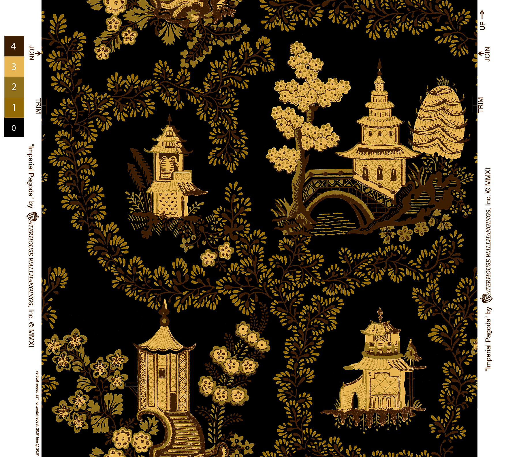 Imperial-Pagoda-WH-Beige-on-Black-by-Waterhouse-Wallhangings-wallpaper-wp6004127