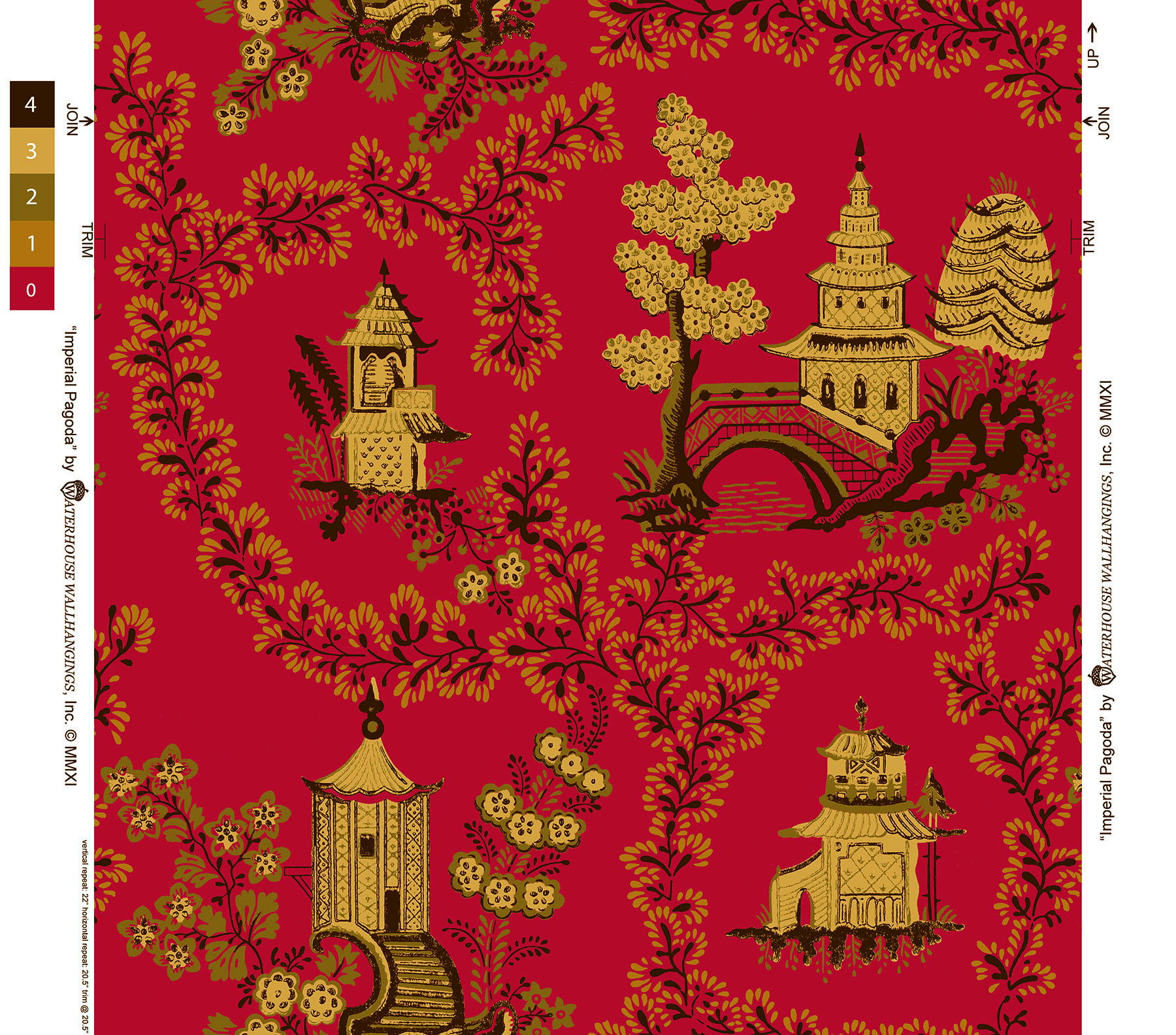 Imperial-Pagoda-WH-beige-on-Red-by-Waterhouse-Wallhangings-wallpaper-wp6004126