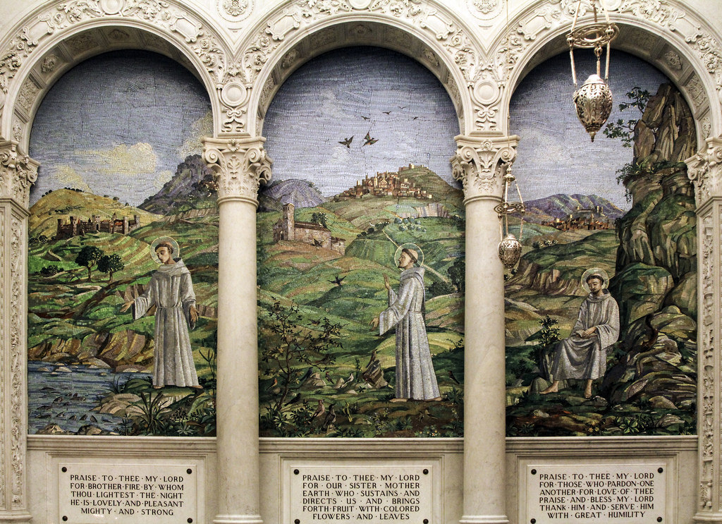 In-the-central-panel-St-Francis-is-shown-preaching-to-the-birds-On-the-left-is-St-Anthony-preaching-wallpaper-wp5806886