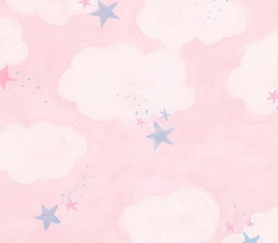 Interior-Place-Pink-Clouds-Stars-Nursery-wallpaper-wp5806942