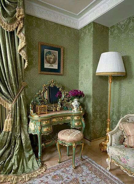 Jade-green-French-room-with-damask-wall-covering-formal-swag-drapery-and-light-colored-Persian-rug-wallpaper-wp6004233