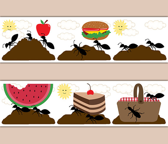 KITCHEN-WALL-DECOR-Ant-Picnic-Basket-Border-Art-Decals-Hill-Farm-Room-Stickers-Kids-Childr-wallpaper-wp5208480