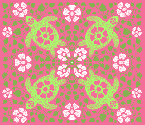 Kauai-Turtles-Greens-and-Pink-fabric-by-coloroncloth-on-Spoonflower-custom-fabric-For-Rachel-s-B-wallpaper-wp3007640
