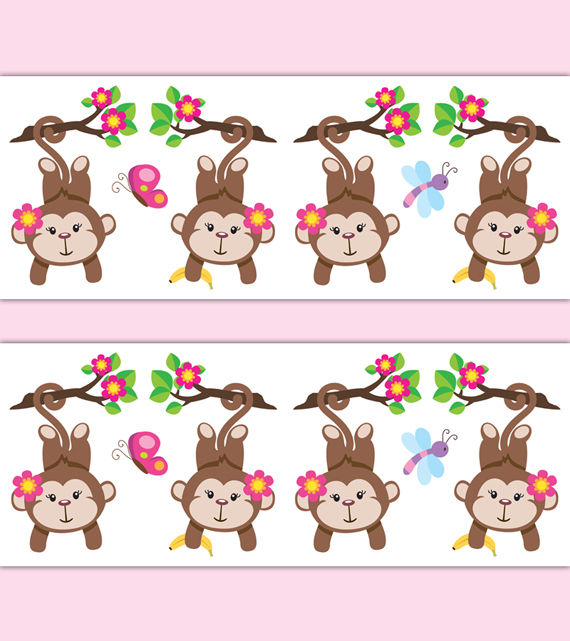 Monkey-Nursery-Decor-Border-Decals-Girl-Wall-Art-Stickers-Pink-Floral%E2%80%A6-wallpaper-wp5209542