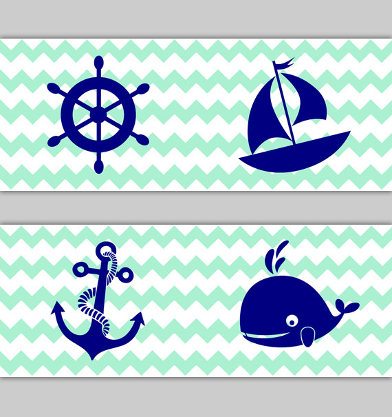 NAUTICAL-NURSERY-DECOR-Chevron-Border-Navy-Blue-Mint-Green-Wall-Art-Decal-Sailboat-Whale-A-wallpaper-wp5209716