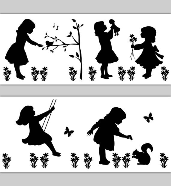 NURSERY-BORDER-DECALS-Girls-Playing-Cameo-Silhouette-Vintage-wallpaper-wp5209895