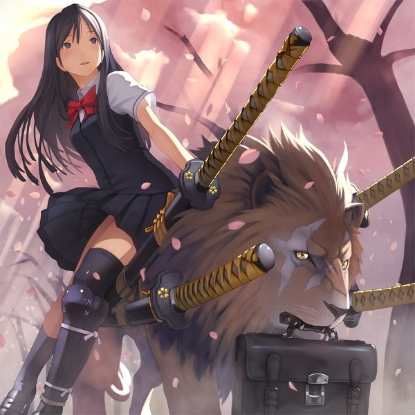 Not-sure-what-this-is-from-but-it-s-totally-random-Samurai-schoolgirl-with-swords-riding-a-lion-to-wallpaper-wp428039