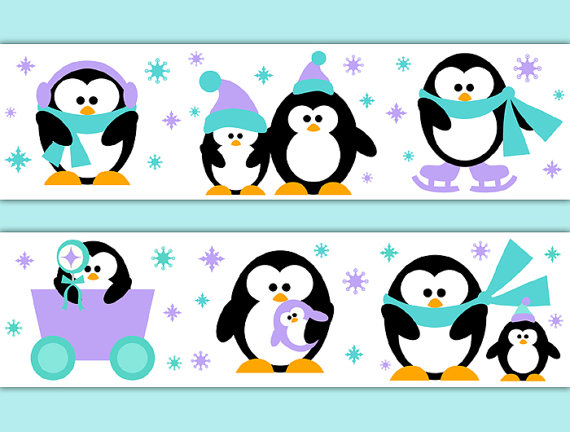 PENGUIN-BORDER-Decal-Wall-Art-Girl-Nursery-Arctic-Animal-Stickers-Room-Decor-Baby-Shower-D-wallpaper-wp52010187