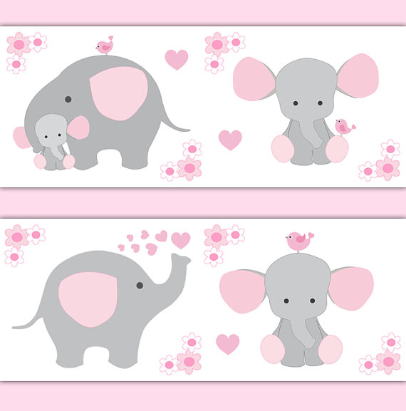 PINK-GREY-ELEPHANT-Nursery-Baby-Girl-Border-Wall-Decal-Gray-Art-Stickers-Decor-Safari-Show-wallpaper-wp52010305