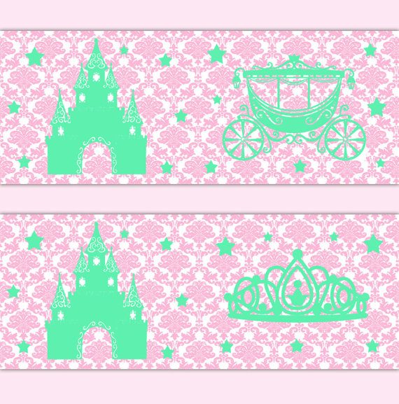 PRINCESS-CROWN-NURSERY-Decor-Baby-Girl-Border-Wall-Art-Decals-Pink-Damask-Mint-Green-Room-wallpaper-wp52010441