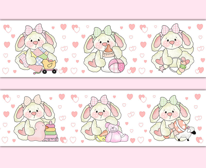 Pink-Bunny-Nursery-Border-Wall-Art-Decals-Girl-Woodland-Animal-Sticker-decampstudios-wallpaper-wp52010295