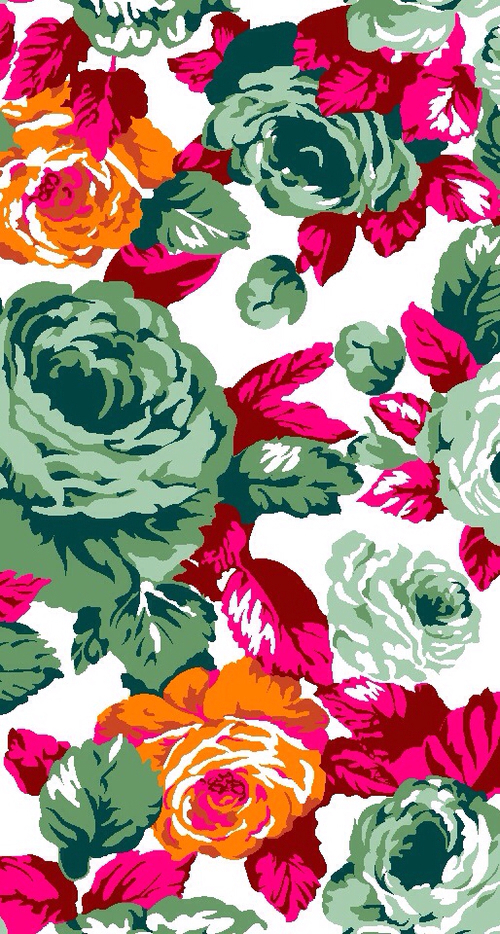 Pretty-green-and-orange-roses-with-pink-leaves-Iphone-background-Pop-art-wallpaper-wp44010653