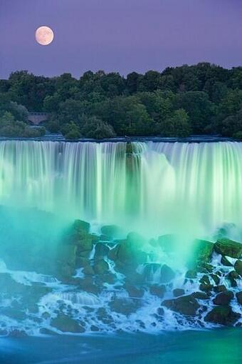 The-American-Falls-with-full-moon-at-dusk-lit-with-lights-at-Niagara-Falls-Ontario-Canada-as-your-A-wallpaper-wp429687