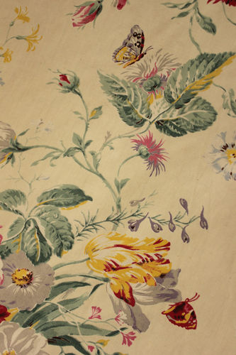 Vintage-French-Cotton-Floral-Satinized-Fabric-Material-Butterflies-Fabric-S-eBay-wallpaper-wp4210372