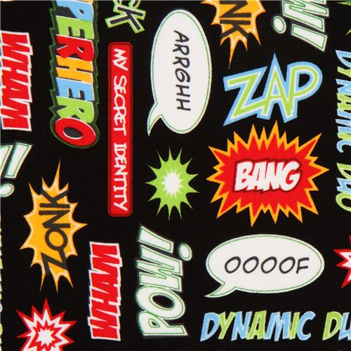 black-superhero-speech-bubbles-fabric-Robert-Kaufman-wallpaper-wp3003751