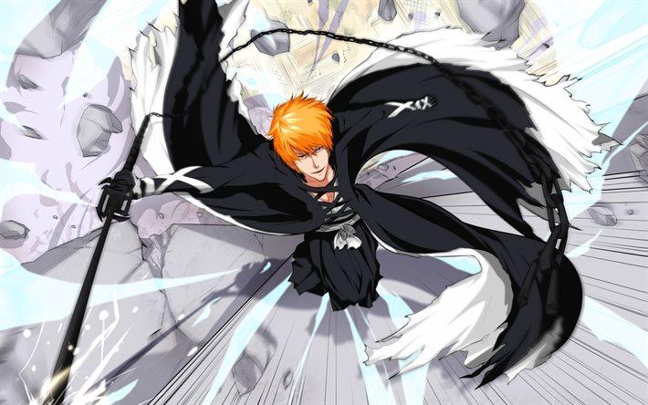 bleach-Kurosaki-Ichigo-Hiroto-touya-Shinigami-power-manga-black-kimono-black-sword-wallpaper-wp3403369