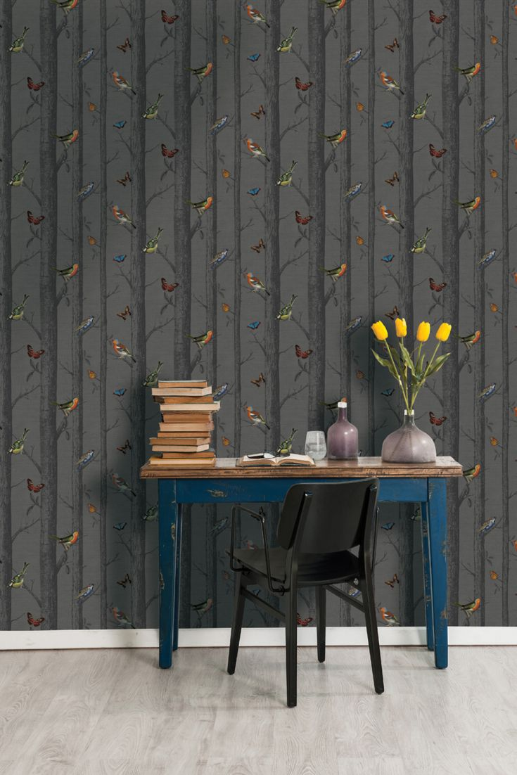 design-featuring-a-pattern-of-monochrome-trees-and-vibrantly-coloured-birds-wallpaper-wp50013788