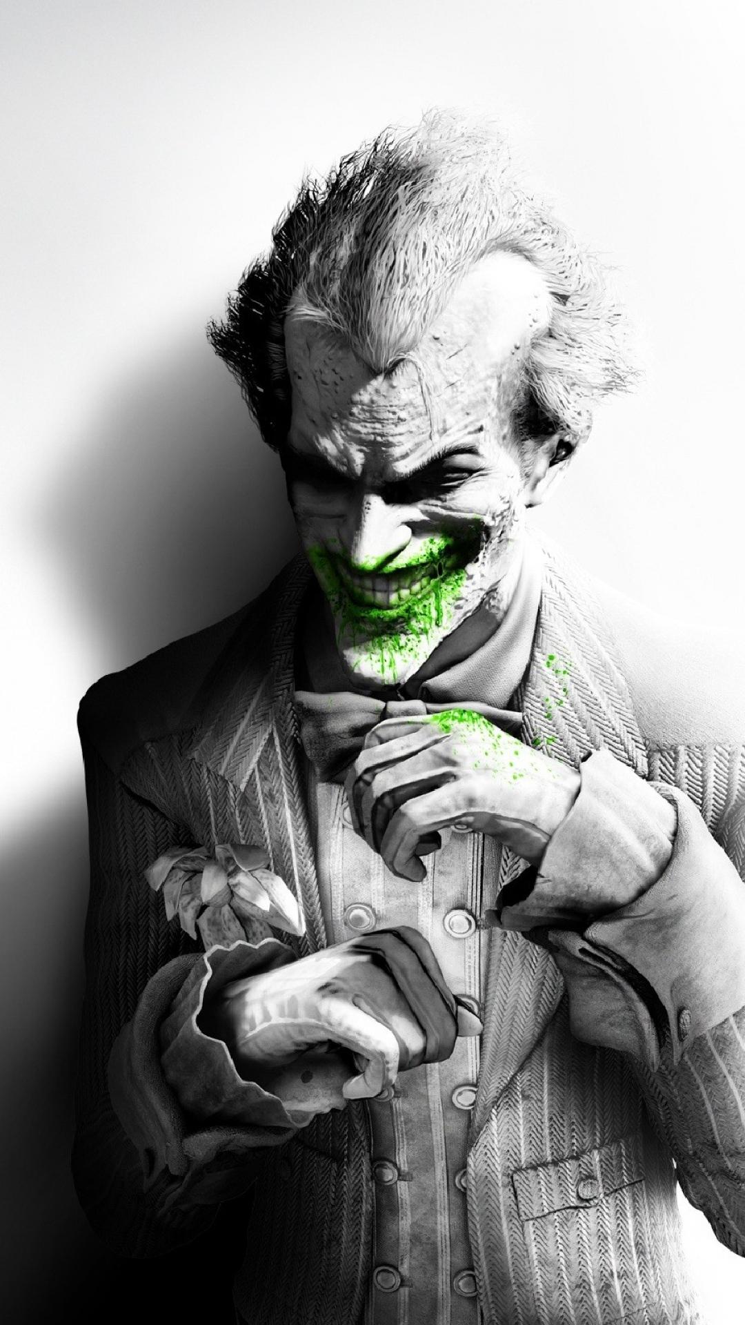 1080x1920-batman-arkham-city-joker-smile-suit-flower-fan-art-black-and-white-wallpaper-wpc900487