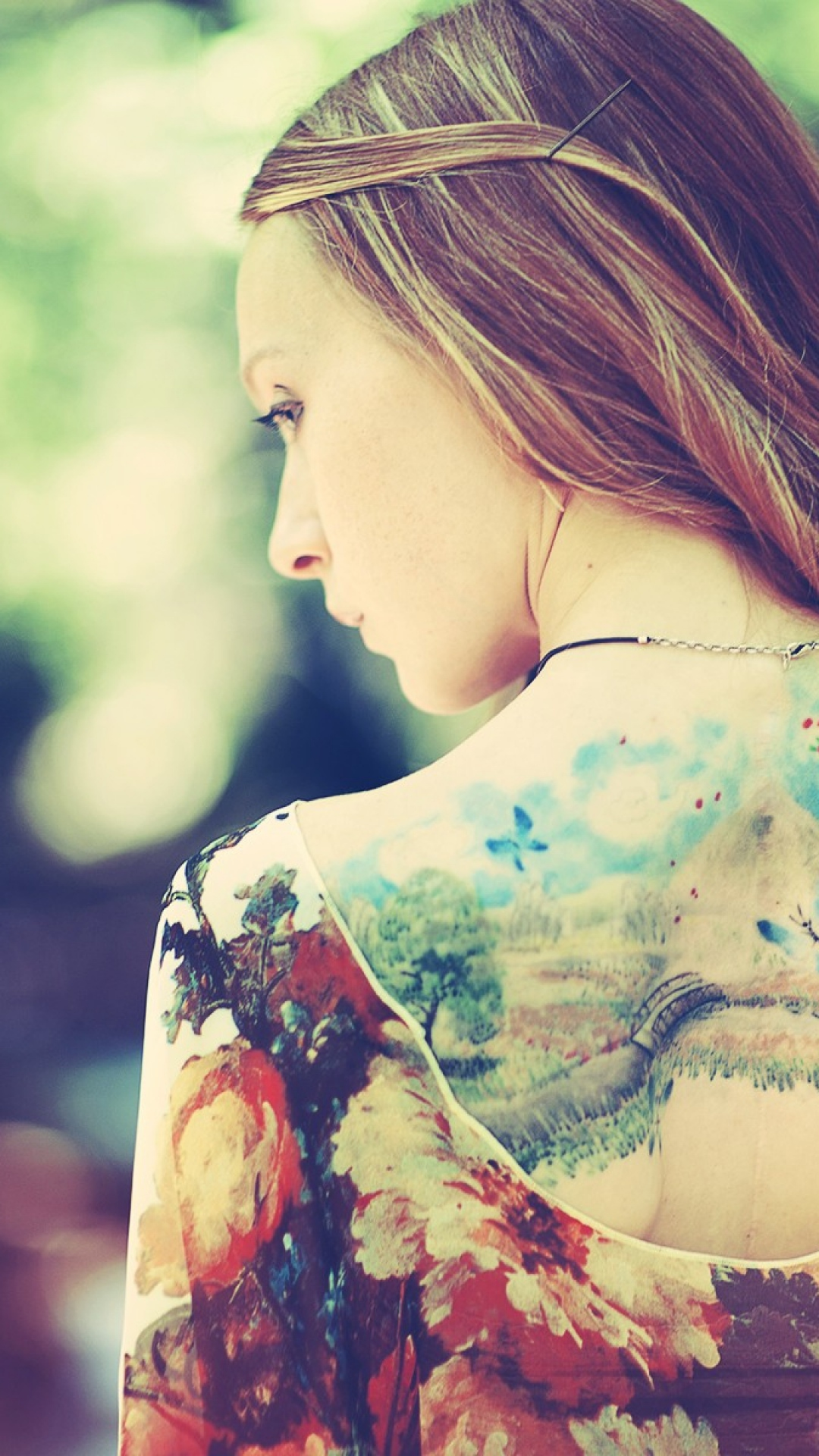 1080x1920-girl-back-dress-tattoos-nature-background-style-fashion-wallpaper-wpc900495