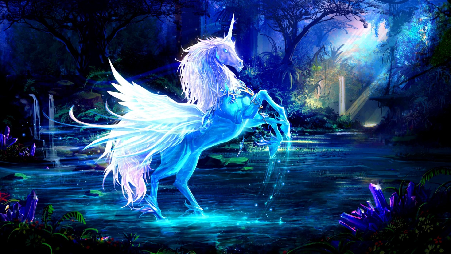 1920x1080-unicorn-water-forest-night-magic-wallpaper-wpc9001055