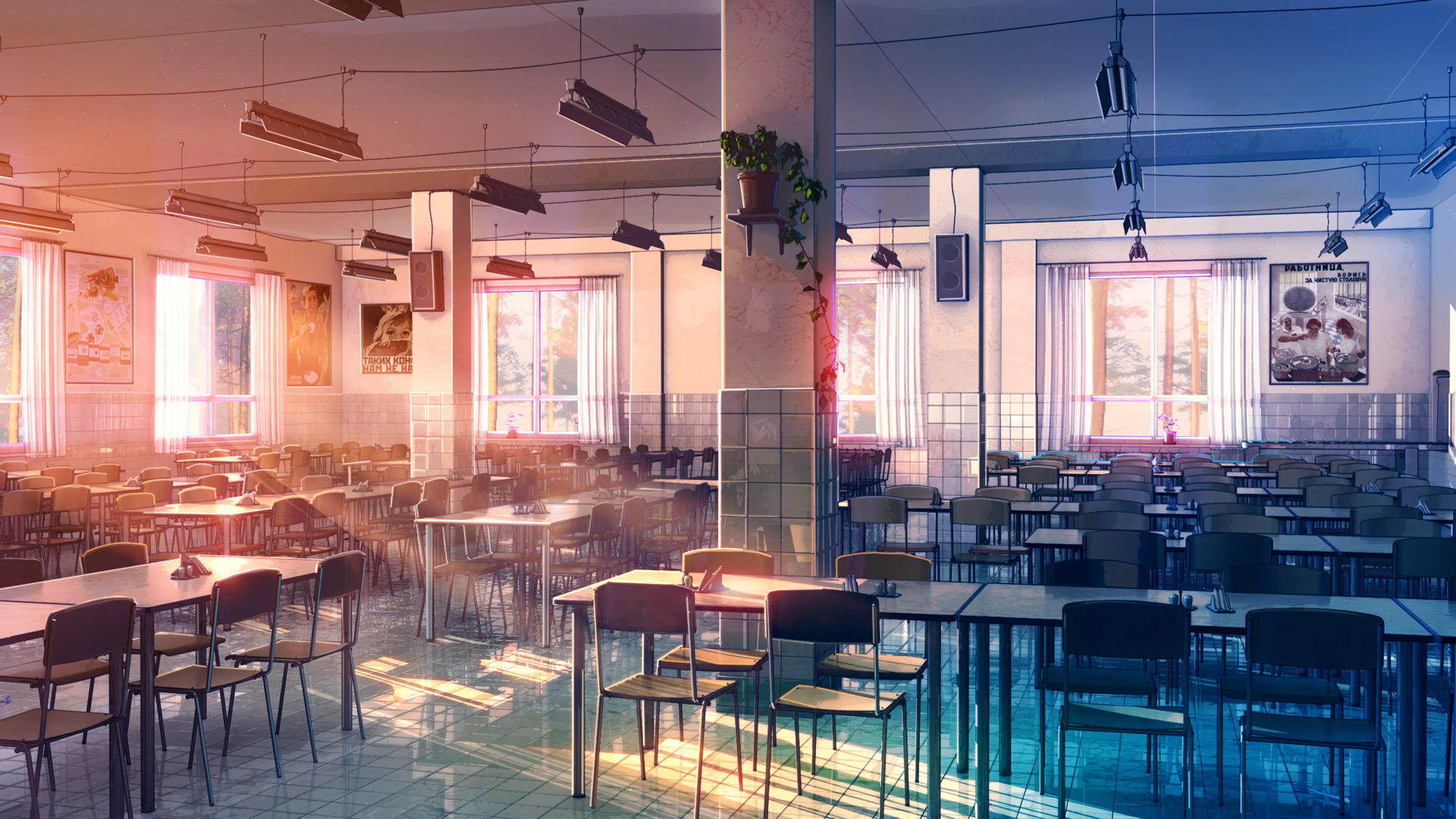ANIME-ART-anime-scenery-school-cafeteria-tables-chairs-windows-sunlight-wallpaper-wpc5801730
