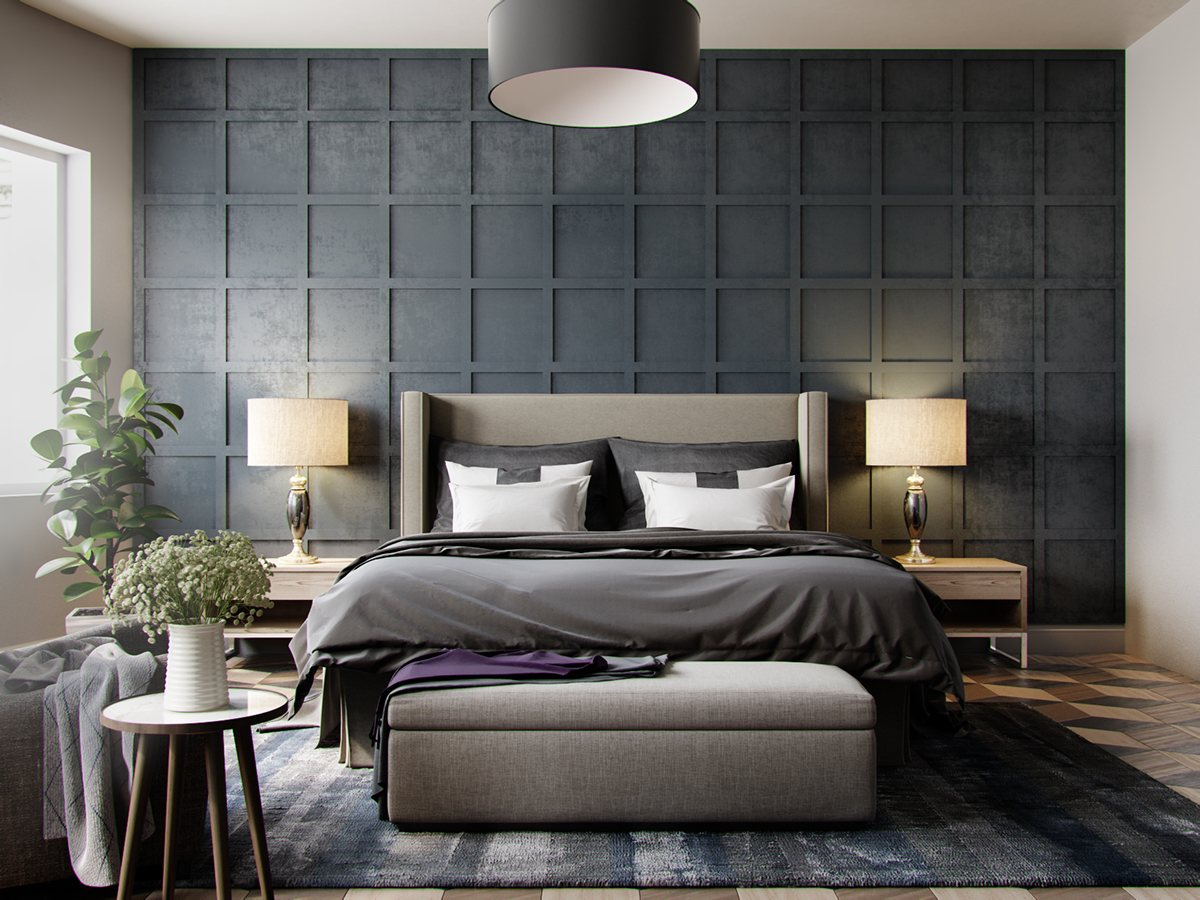 Bedroom-Grey-Bedroom-Textured-In-Squares-Chequered-With-Pendant-Light-Also-Beautiful-Plant-wallpaper-wp3803046