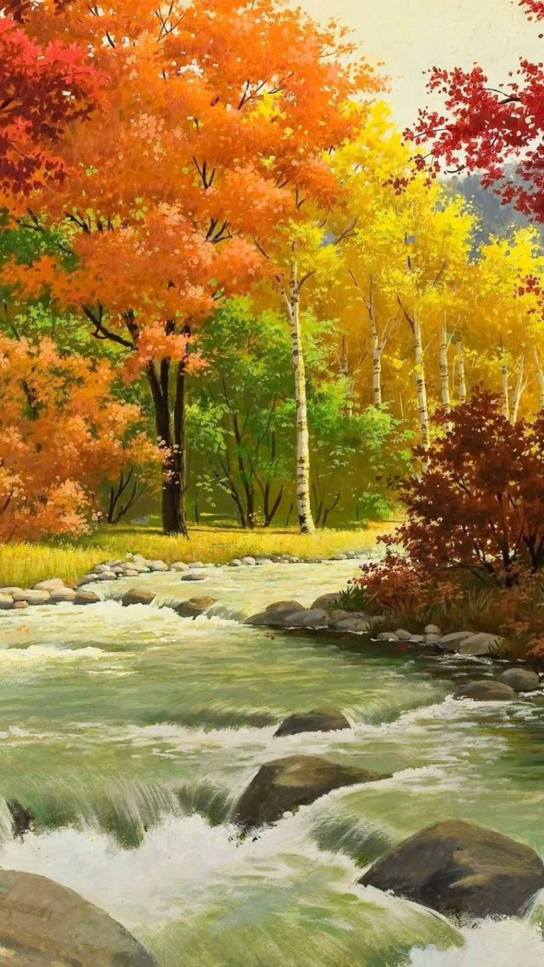 Download-1080x1920-Autumn-Landscape-Painting-River-Wood-Sony-Xperia-Z-ZL-Z-Samsung-wallpaper-wp360209