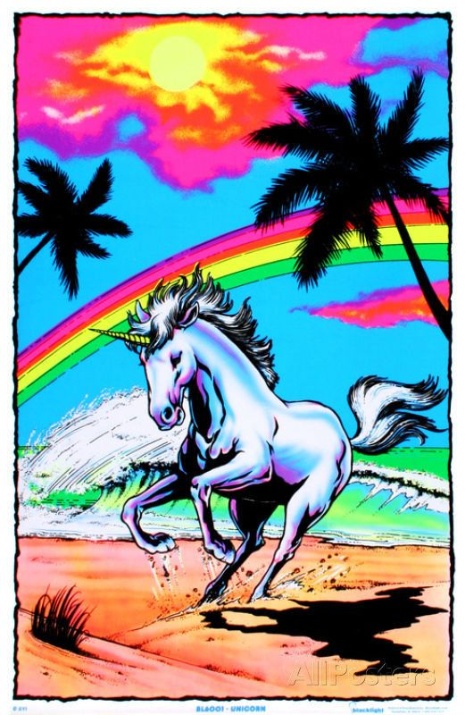 Galloping-Unicorn-with-Rainbow-Flocked-Blacklight-Poster-Art-Print-wallpaper-wpc9005435