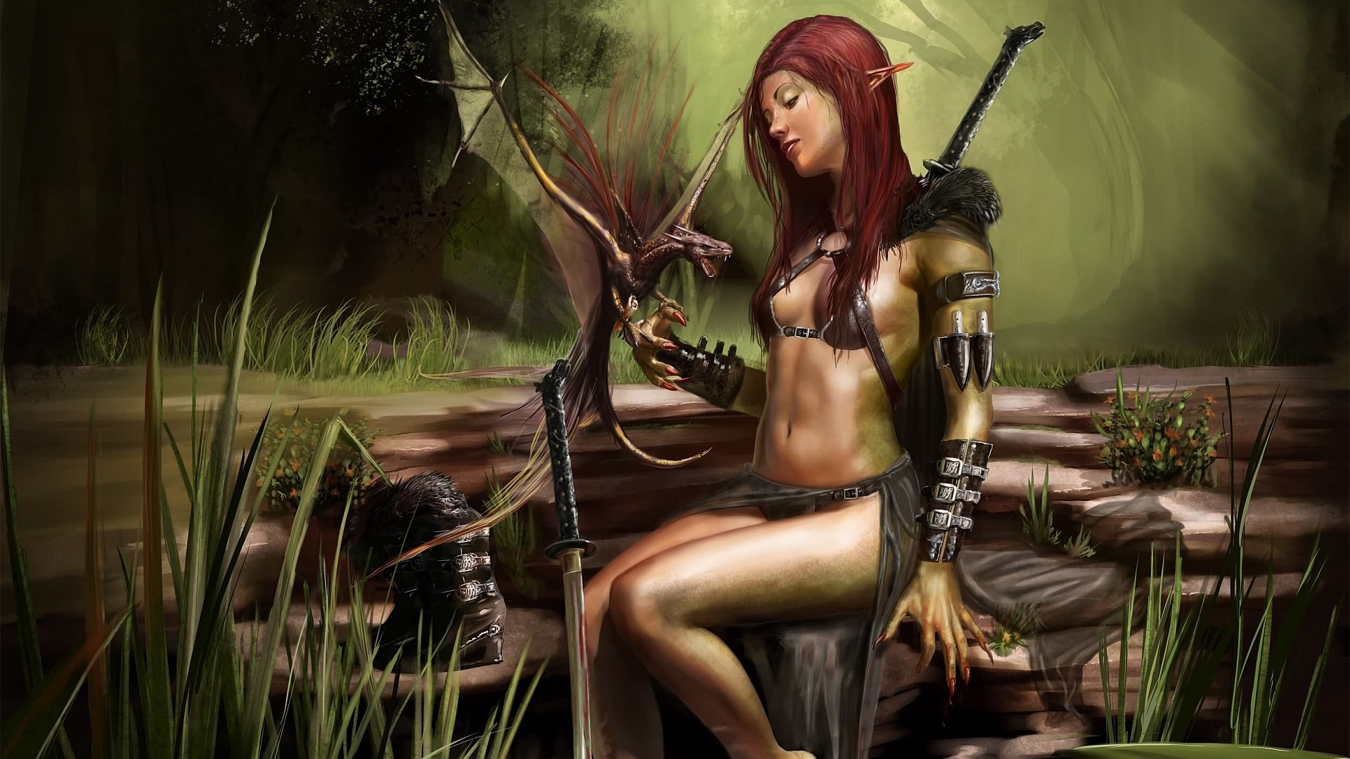 General-1920x1080-digital-art-fantasy-art-women-dragon-nature-warrior-elves-sword-redhead-katana-wallpaper-wpc9005464