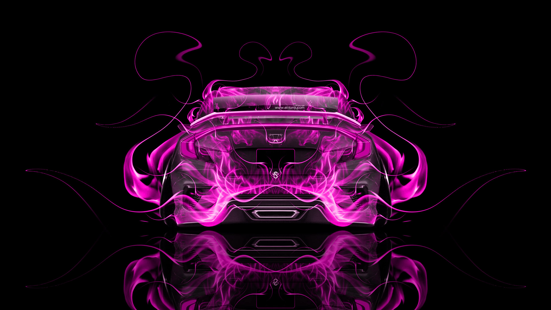 Honda-Civic-JDM-Back-Fire-Abstract-Car-Pink-Black-Colors-HD-design-by-Tony-Kokhan-ww-wallpaper-wpc5805968
